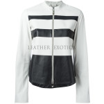Color Block Collection Stripes Pattern Leather Jacket