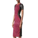 Color Block Leather Sheath Dress