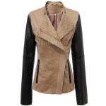 Color Block Jacket With Asymmetric Zip