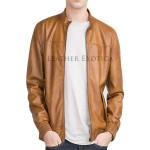 Elastic Hem Stylish  Men Leather Jacket