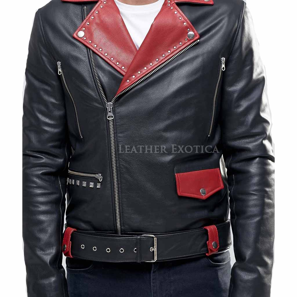 Belted Biker Leather Jacket With Red Lapel Detail