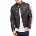 Cool Style Leather Jacket With Chest Pocket