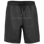 Drawstring Details Men Leather Shorts