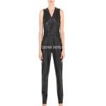 Sleeveless Wrap Style Women Leather Jumpsuit