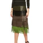 Colorblock Fringed Leather Midi Skirt