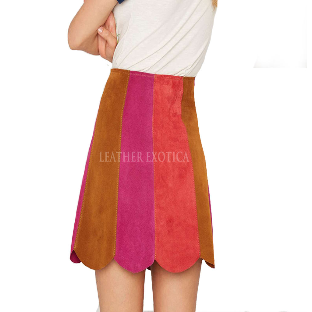 Color Block Collection Mini Suede Leather Skirt