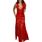 Selena Gomez Red Leather Gown