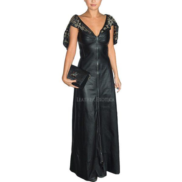 Selena Gomez Black Long Leather Gown