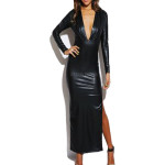 Deep V Neckline Faux Leather Dress