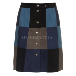 Cool Style Color Block Patchwork Leather skirt