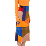 Multi Colored Patchwork Suede Leather Midi Skirt