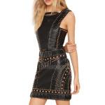 Designer Lamb Skin Leather Black Dress
