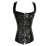 Criss Cross Detailing Strap Leather Corset