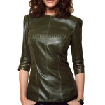 Half Long Sleeve Style Leather Top