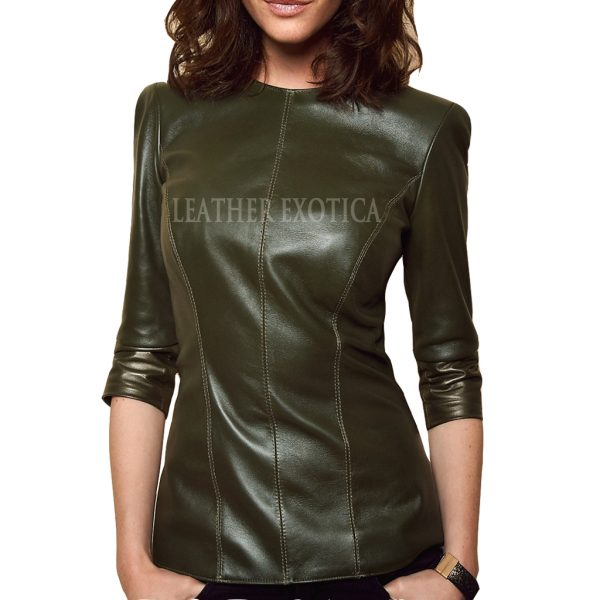 c2f4f2f69750 Half Long Sleeve Style Leather Top