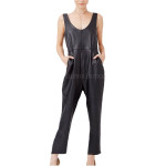 Scoop Neckline Leather Jumpsuit  For Women