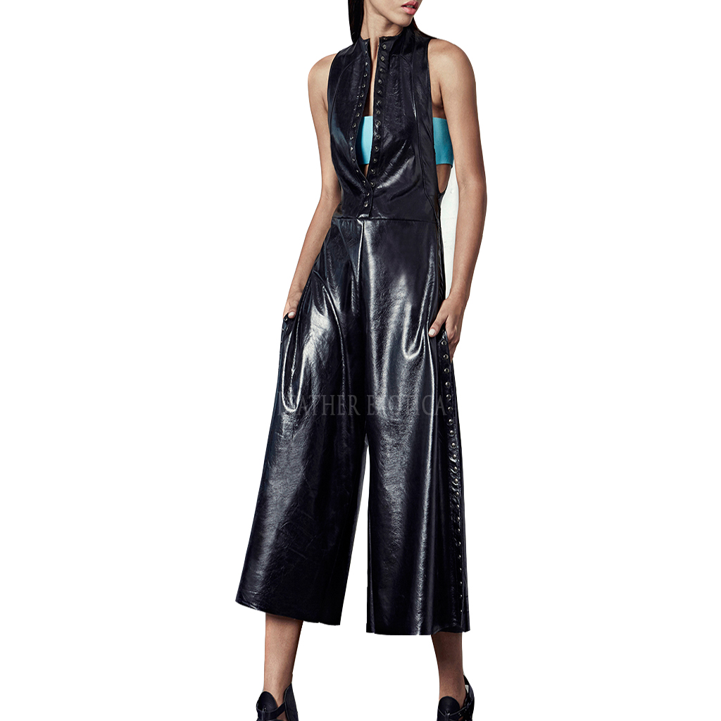 Studs Detailing Leather Jumpsuit Leatherexotica
