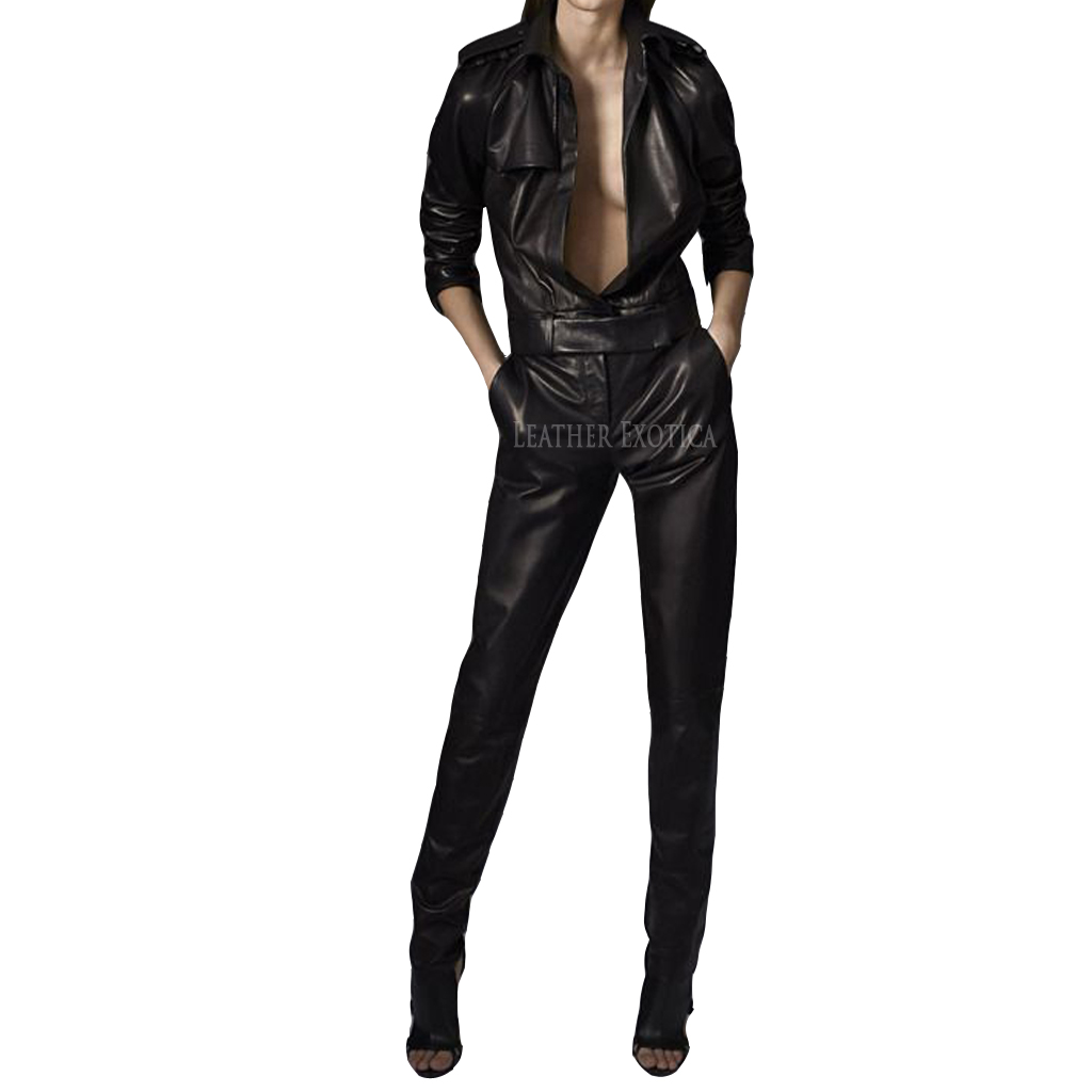 Cool Style Leather Women Jumpsuit Leatherexotica