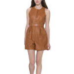 Mini Length Leather Jumpsuit