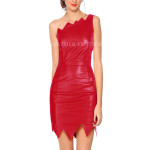 One Shoulder Leather Dress With Jagged Edges