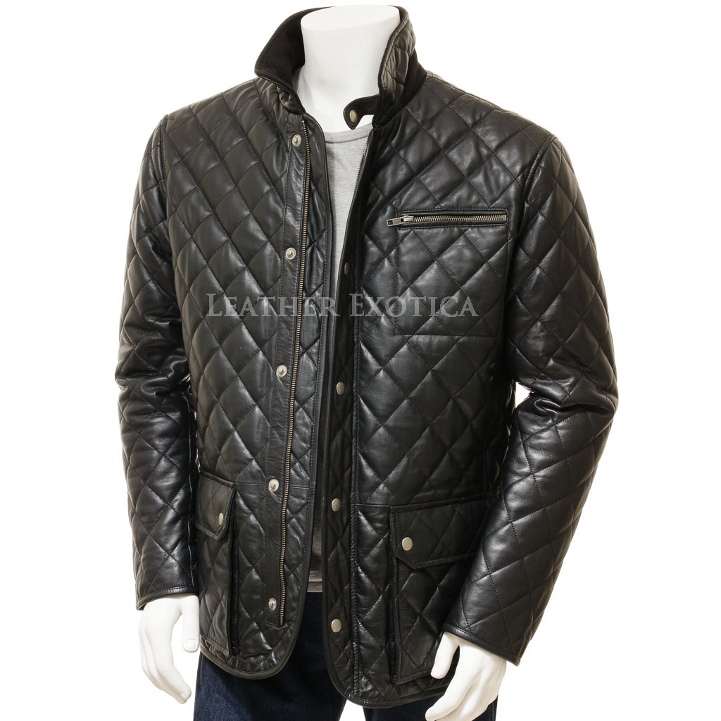 Men Black Quilted Leather Jacket Leatherexotica