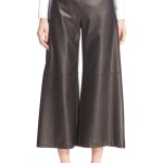 Women Leather Crop Wide Leg Pants