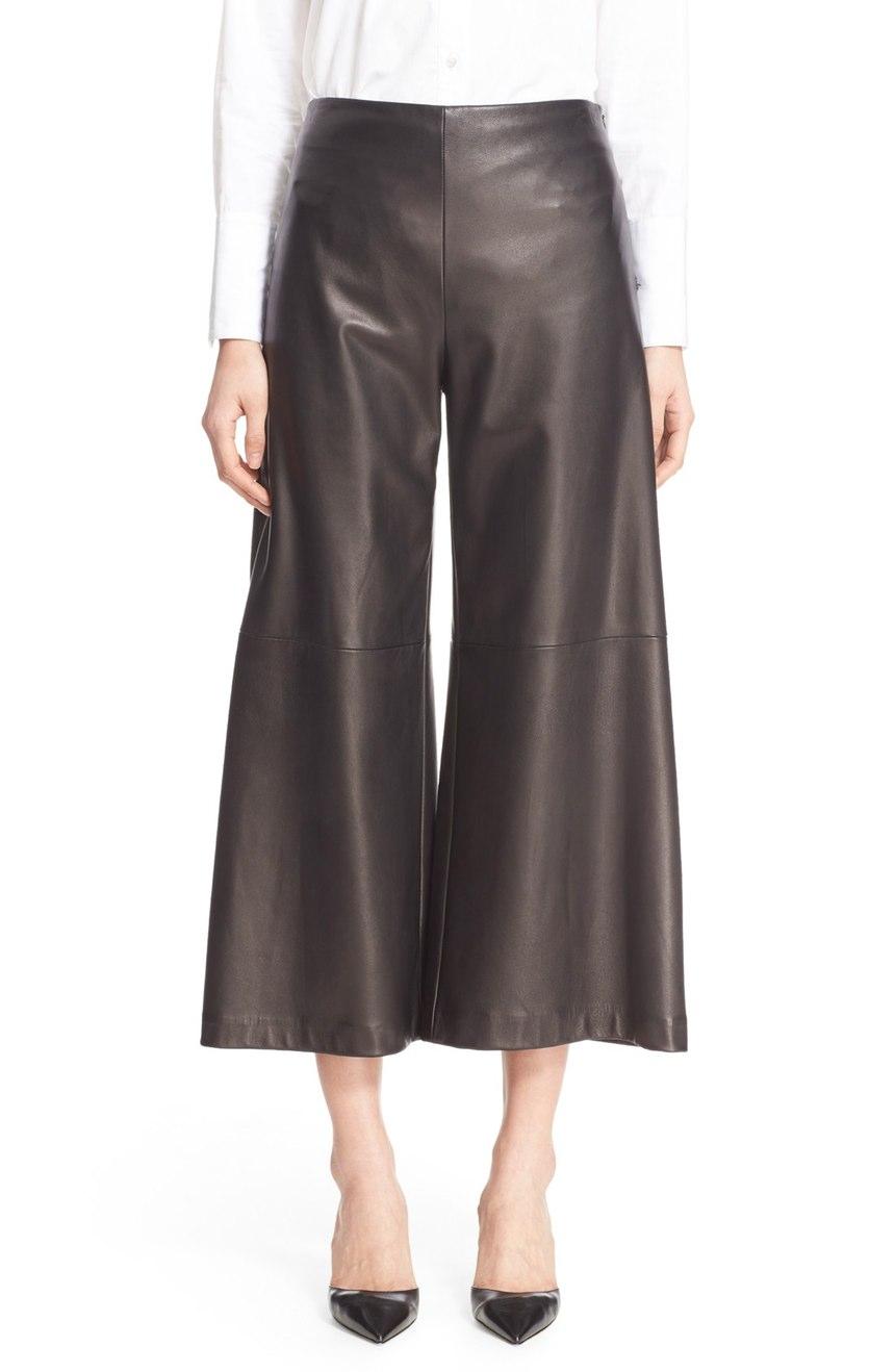 Women Leather Crop Wide Leg Pants Leatherexotica