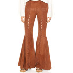 Suede Leather Flare Pants