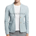 Blue Leather Blazer For Women