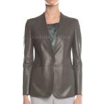 Gray Leather Blazer For Women