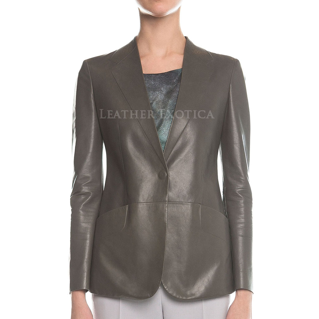 Gray Leather Blazer For Women Leatherexotica