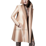 Wide Collar Leather Coat For Women
