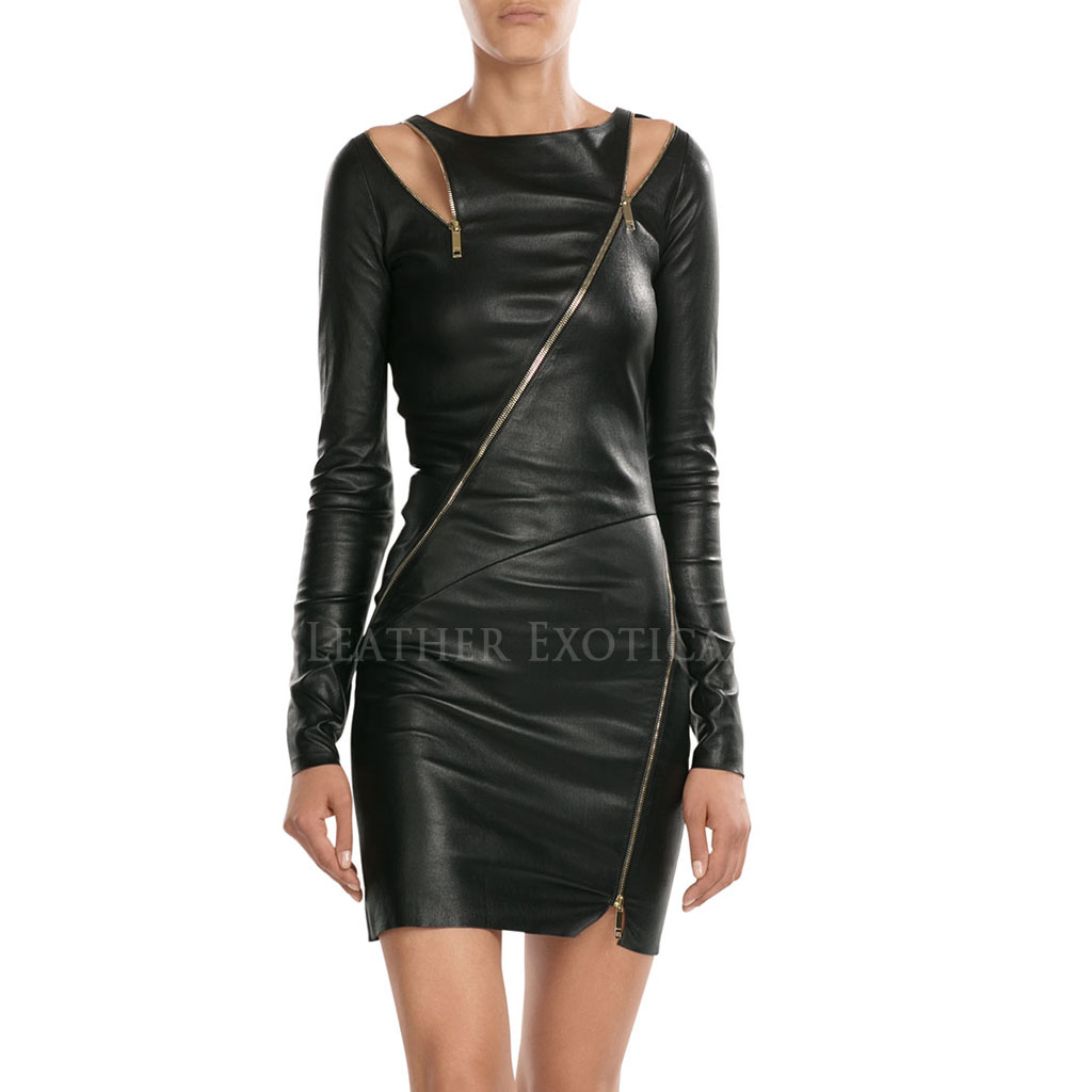 Shoulder Cutouts Style Sexy Leather Dress Leatherexotica