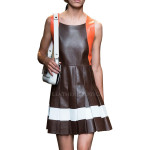 Paneled Leather Dress For Women