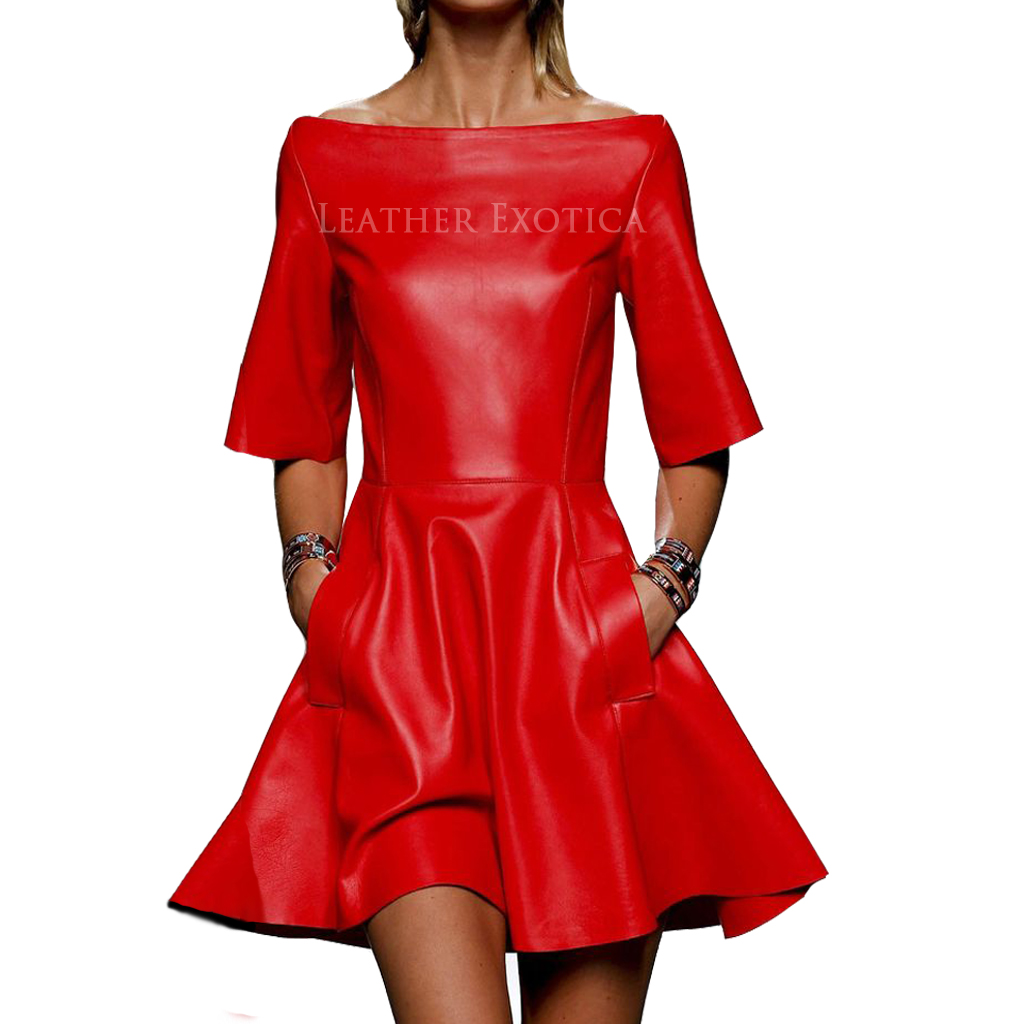 Off Shoulder Red Hot Leather Dress Leatherexotica