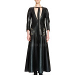 Plunging Moto Leather Maxi Dress