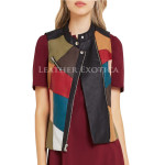 Patched Leather Moto Vest For Women