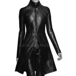 High Collar Lamb Leather Coat