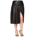 Faux-Wrap Pleated Leather Skirt