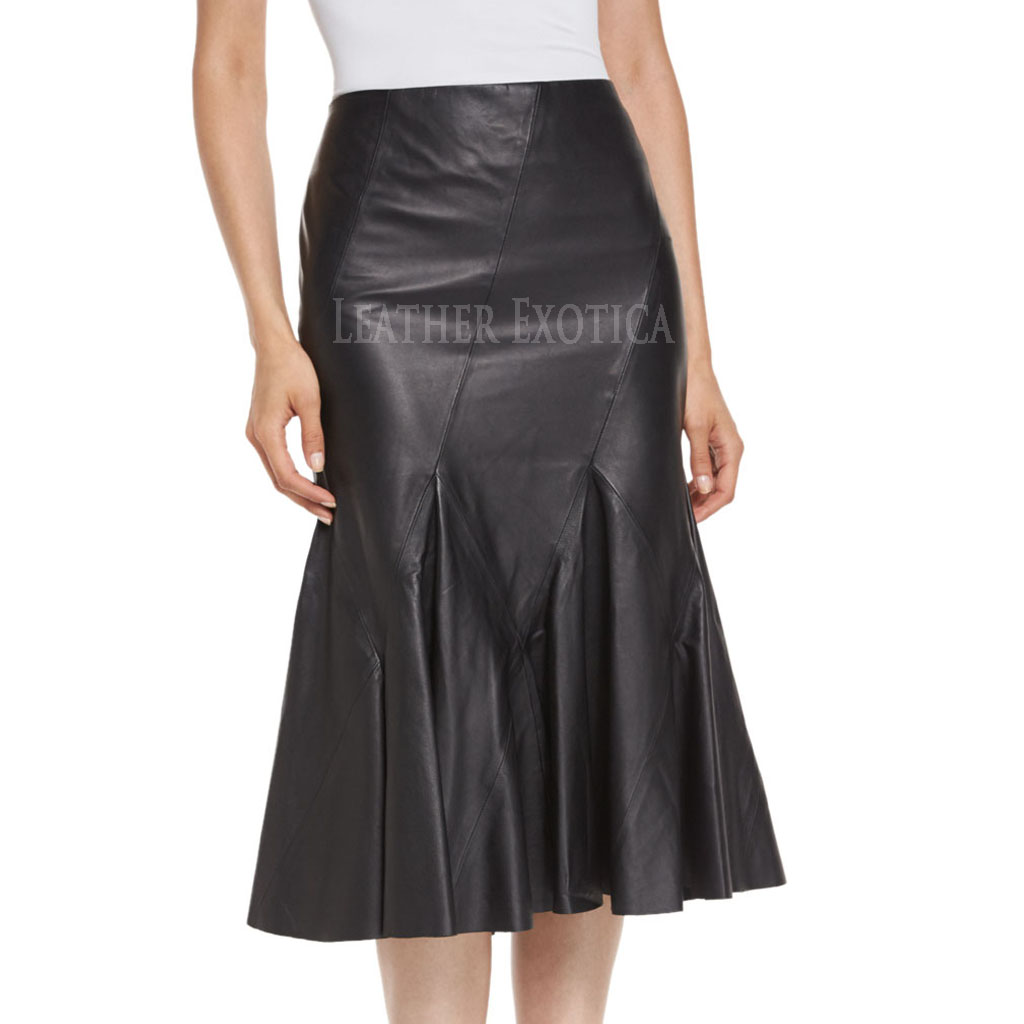 Flared Midi Leather Skirt