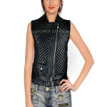 New Style Embellished Leather Waistcoat For Women