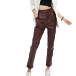 Women Pleated Leather Trousers