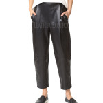 Pleats Leather Pants For women