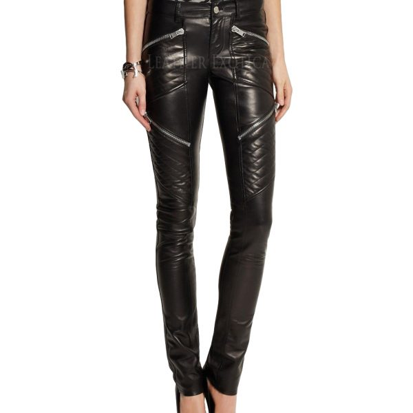 6b3d27bba5 New Skinny Fit Quilted Leather Pants