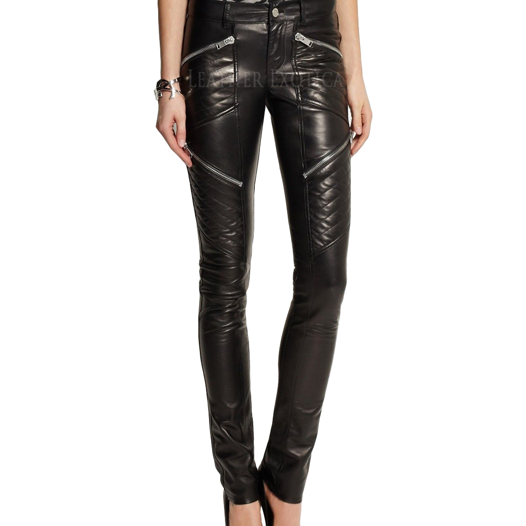 New Skinny Fit Quilted Leather Pants Leatherexotica
