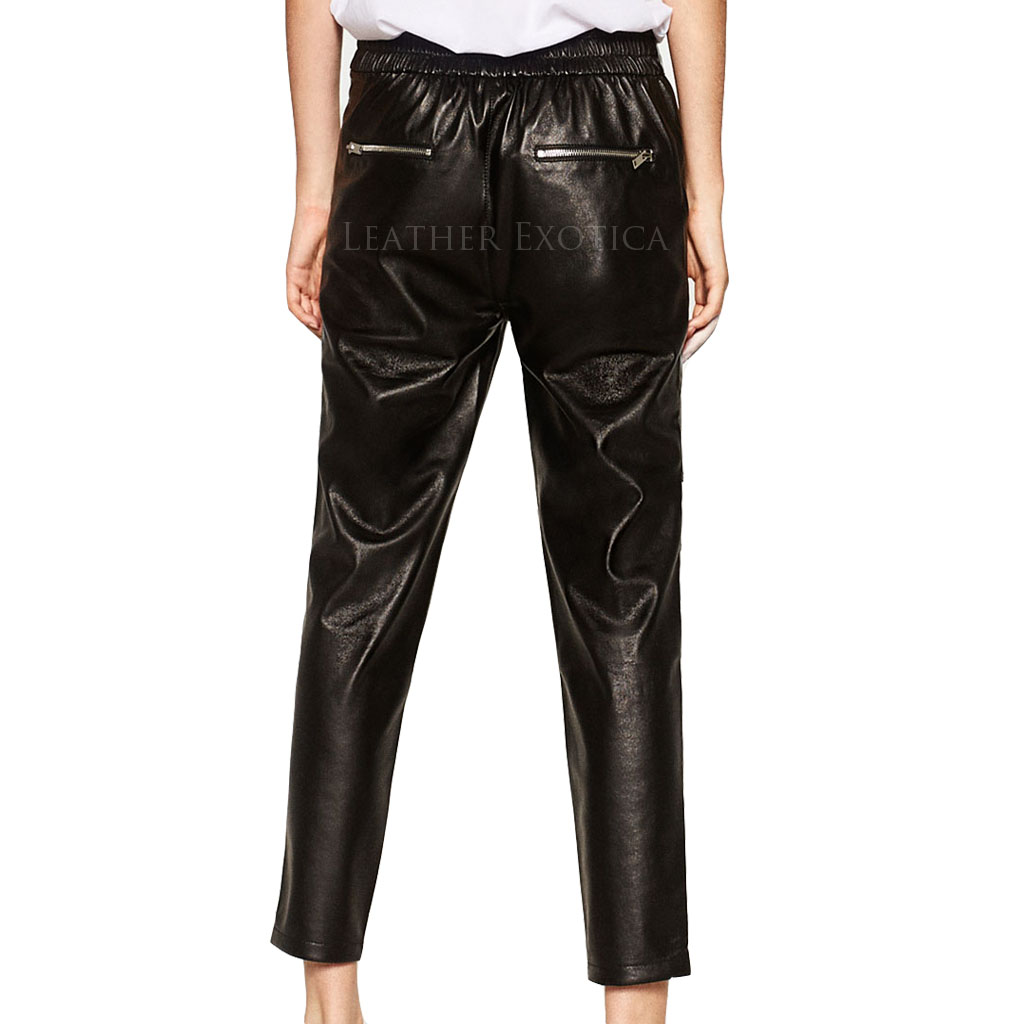 Leather Jogging Pants With Zips Leatherexotica