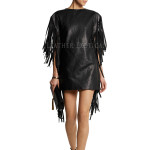 Fringed Leather Top For Women
