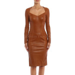 Criss Cross Lace Details Leather Dress