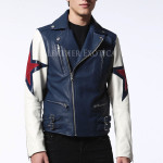 Suede And Leather Star Panels Biker Leather Jacket