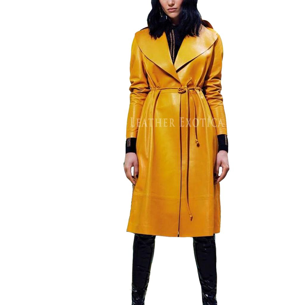 Womens Yellow Trench Raincoat - Tradingbasis